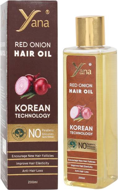 Yana Red Onion Hair Oil KOREAN TECHNOLOGY Almond Aloe vera Extract Vitamin E Bhringraj Amla Brahmi // Herbals 100% Pure Ayurvedic Herbs for ReGrowth And Anti-Hair Fall Care Anti Dandruff Control Intense Long Treatment NO Silicones For Men & Women for fast growth women in Long increase with Black Seed Onion  Hair Oil