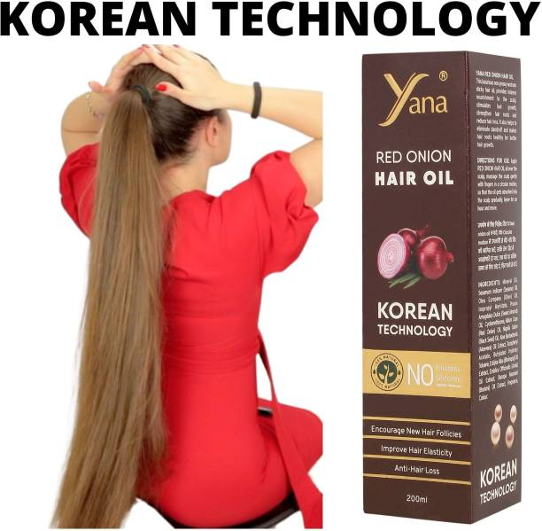 Yana Red Onion Hair Oil KOREAN TECHNOLOGY Almond Aloe vera Extract Vitamin E Bhringraj Amla Brahmi // For Men & Women for fast growth women in Long increase with Black Seed Onion Herbals 100% Pure Ayurvedic Herbs for ReGrowth And Anti-Hair Fall Care Anti Dandruff Control Intense Long Treatment NO Silicones  Hair Oil