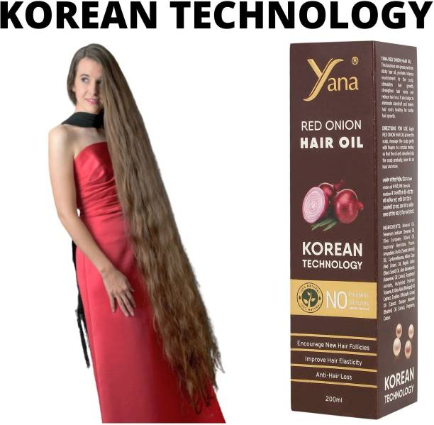 Yana Red Onion Hair Oil KOREAN TECHNOLOGY Almond Vitamin E Bhringraj Amla Brahmi // Intense Long Treatment NO Silicones For Men & Women for fast growth women in Long increase Natural Park with Black Seed Onion Herbals 100% Pure Ayurvedic Herbs for ReGrowth And Anti-Hair Fall Care Anti Dandruff Control Hair Oil Aloe vera Extract Hair Oil