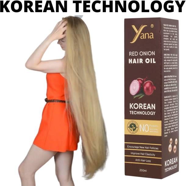 Yana Red Onion Hair Oil KOREAN TECHNOLOGY Almond Aloe vera Extract Vitamin E Bhringraj Amla wow Brahmi // Treatment NO Silicones For Men & Women Hair Oil