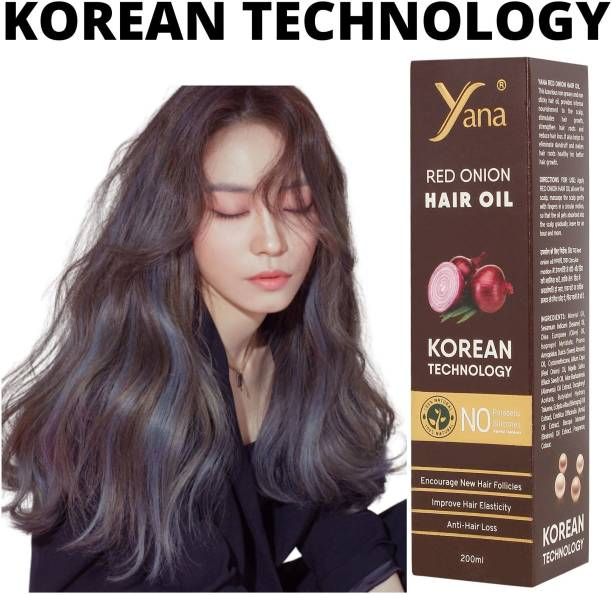 Yana Red Onion Hair Oil KOREAN TECHNOLOGY Almond Aloe vera Extract Vitamin E Bhringraj Amla Brahmi // Control Intense Long Treatment NO Silicones For Men & Women for fast growth women in Long increase Natural with Black Seed Onion Herbals 100% Pure Ayurvedic Herbs for ReGrowth And Anti-Hair Fall Care Anti Dandruff  Hair Oil