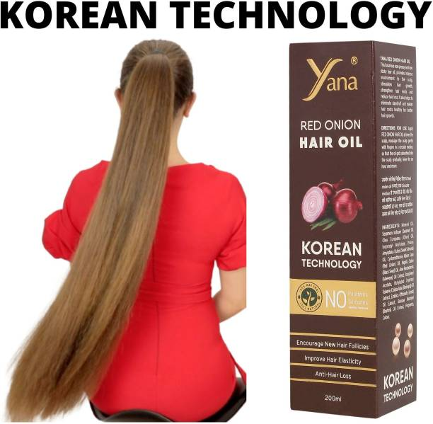 Yana Red Onion Hair Oil KOREAN TECHNOLOGY Almond Aloe vera Extract Vitamin E Bhringraj Amla Brahmi // Intense Long Treatment NO Silicones For Men & Women for fast growth women in Long increase Natural Park with Black Seed Onion Herbals 100% Pure Ayurvedic Herbs for ReGrowth And Anti-Hair Fall Care Anti Dandruff Control  Hair Oil
