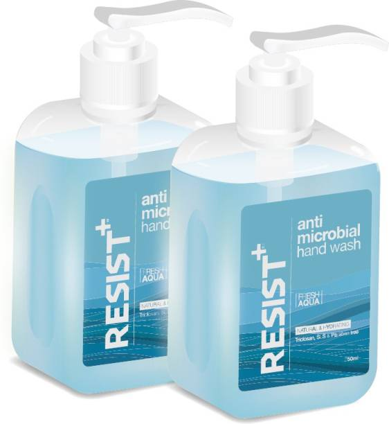 RESIST+ Antimicrobial Hand Wash with Pump Dispenser (Fresh Aqua), Eliminates Germs, Pack of 2 - 500ml Hand Wash Pump Dispenser