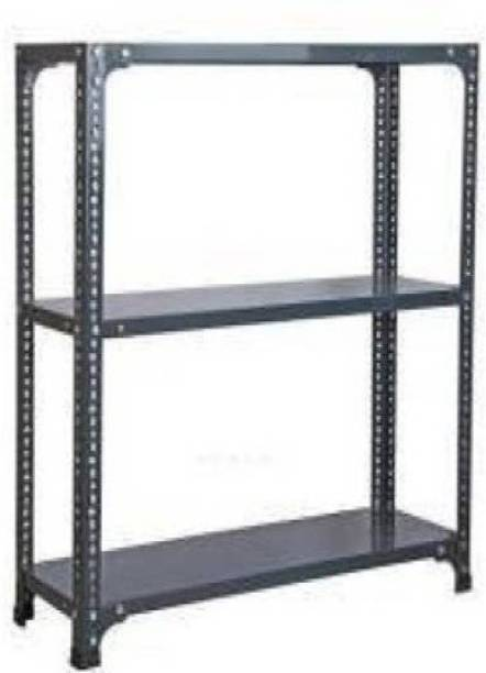 "Spacious CRC Sheet 3 Shelf Multipurpose Slotted Angle Rack , Rack_12""X24""X23"" 3 Self (DA Grey) Luggage Rack Luggage Rack"