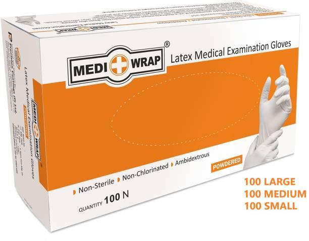 Mediwrap Latex Examination Gloves Medical Grade (Pack of 300) Powdered Small, Medium, Large Combo Latex Examination Gloves