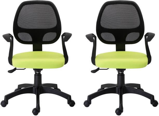 Bluebell TURINE ERGONOMIC MEDIUM BACK OFFICE/REVOLOVING/EXECUTIVE WORKSTATION CHAIR WITH BREATHABLE MESH BACK (Black-Green) Pack of 2 Mesh Office Executive Chair
