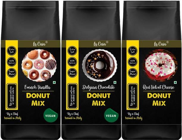 La Casa 3 Flavors Vegan Donut Mix | Vegan | Can Bake or Fry | Combo Pack of 3 | 900 g