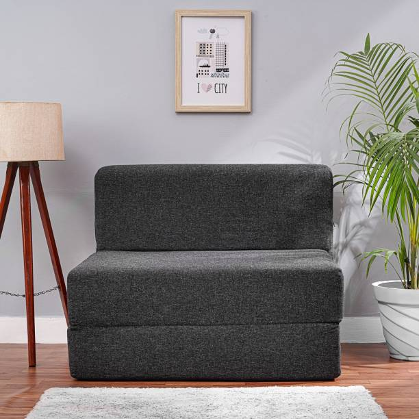 Solis Primus-comfort for all 3X6 size Sofa cum Bed for 1 Person- 1 Seater Jute Fabric Washable Cover- Dark Grey Single Sofa Bed
