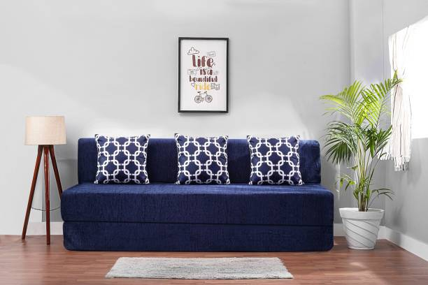 Solis Primus-comfort for all 6X6 size Sofa cum Bed for 3 Person- 3 Seater Moshi Fabric Washable Cover with 3 Cushion(Multi Chain Pattern)- Moshi Blue Double Sofa Bed