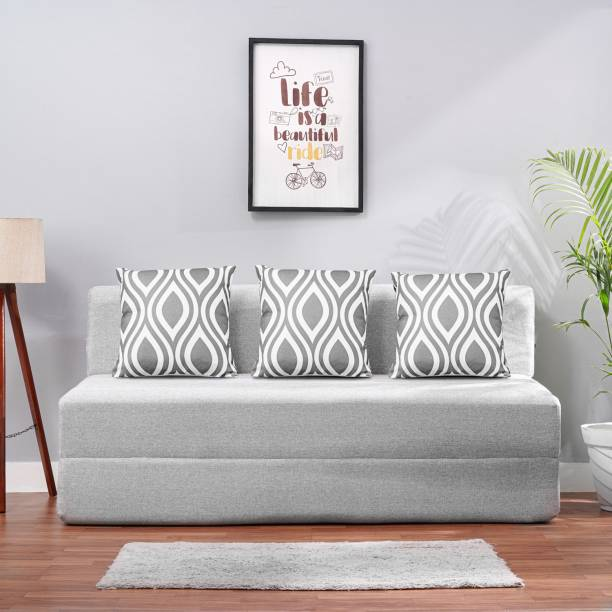Solis Primus-comfort for all 5x6 size Sofa cum Bed for 3 Person- 3 Seater Jute Fabric Washable Cover with 3 Cushion - Silver Jute.. Double Sofa Bed