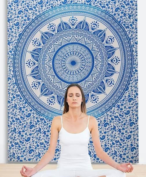 KALAKYARI Indian Mandala Tapestry Home Decoration Bohemian Twin Size (84 x 54 Inches) (Sky Blue) Tapestries Mandala Tapestry