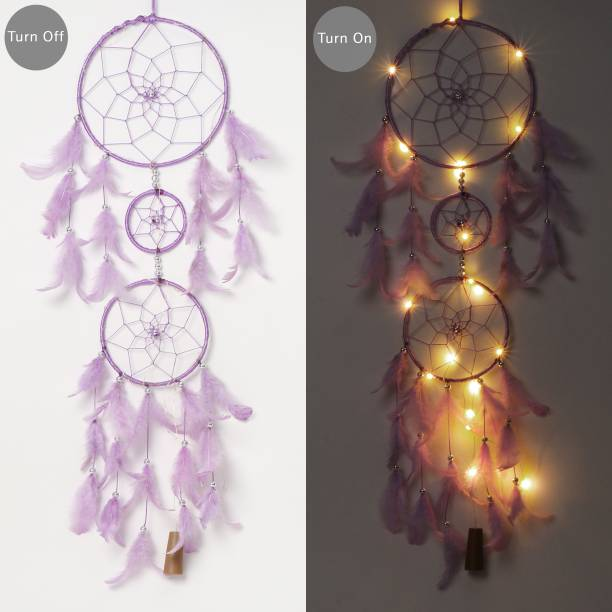 ILU Dream Catcher with Lights, Wall Hangings, Crafts, Home Décor, Handmade for Bedroom, Balcony, Garden, Party, Café, Decoration, Wedding, Decorative, Purple Feathers (17 cm Diameter) Feather Dream Catcher