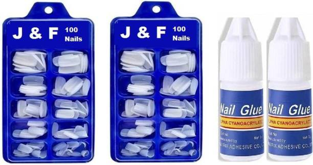J & F Arylic Fake Nails Empress Curve Artificial 200 Nails with 2 glue bottle Both Pack of 2 New Pack White