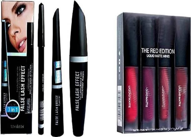 Madaara Combo Of eyeliner pencil, mascara & liquid eyeliner With Red edition matte lipstick