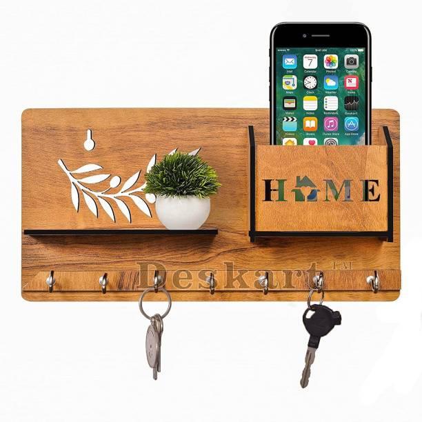 primecode Multipurpose Wooden Key Holder with Mobile Stand and Wall Shelf Rack Door Hanger