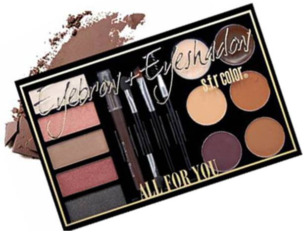 S.F.R 6 color eyebrow powder & eyebrow cream palette , dark brown eyebrow pencil, mascara brush combo | eyebrow cream, eye black, brown and coffee eyebrow powder combo palette | 30 g (multi color) 30 g