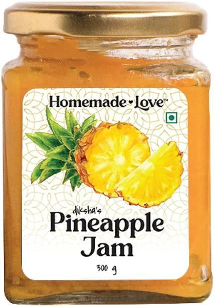 Homemade Love Pineapple Jam (300 gms) | No Preservative | All Natural Fruit Jam | Breakfast Jam 300 g