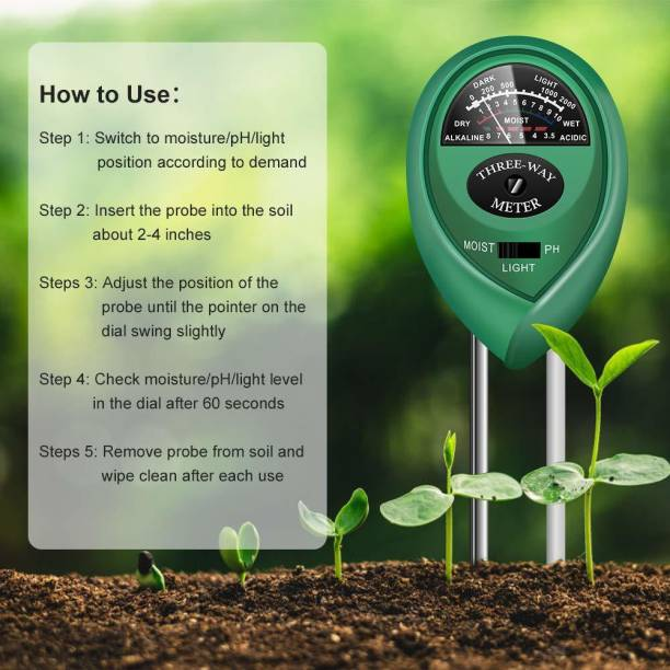 PRIMI Soil Test Kit, 3-in-1 Soil Tester pH Moisture Meter Plant Water Light Tester Testing Kits for Garden Plants All-in-One Analog Moisture Measurer