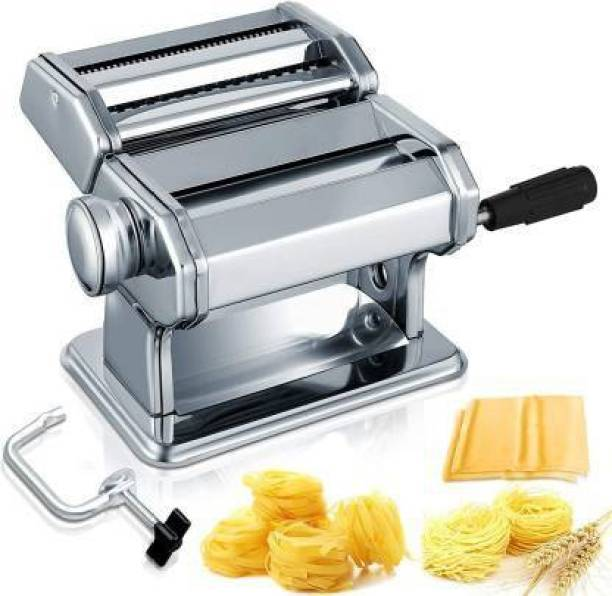 GOODNESS INTERNATIONAL Ss pasta maker machine Pasta Machine, 150 Roller Manual Noodles Makers with 7 Adjustable Thickness Setting, 2 Size Stainless Cutter, Clamp, and Hand Crank, Perfect for Homemade Spaghetti Lasagna or Dumpling Skin Pasta Maker Pasta Maker
