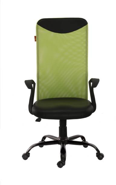 Bluebell GALAXY ERGONOMIC HIGH BACK REVOLVING/EXECUTIVE OFFICE CHAIR WITH DESIGNER ROUND SHAPED ARMS, AND BREATHEABLE MESH BACK(GREEN-BLACK) Mesh Office Arm Chair