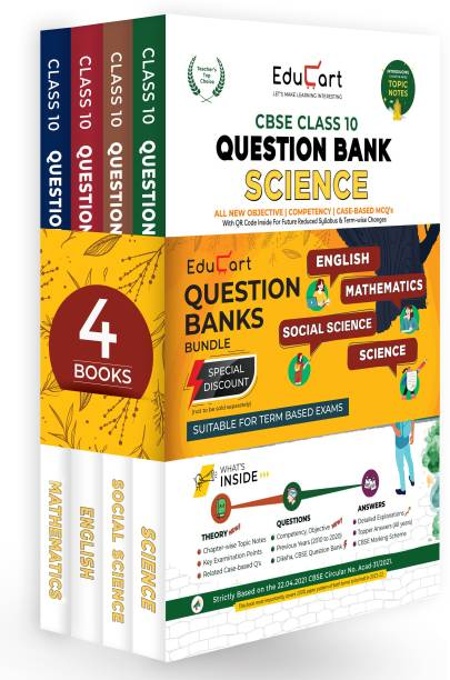 Educart TERM 1 & 2 Question Bank Class 10 Bundle 2022 - Science, Maths, SST & English 2022 (Based On New MCQs Type Introduced In 2nd Sep 2021 CBSE Sample Paper)