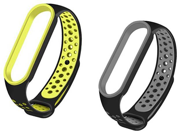 WEBDOO INFOTECH High Quality Xiaomi Mi Band 5 Strap (Multi Color/2 in 1 Design), M5 Nike Strap, Soft, Breathable, Adjustable, Washable Mi Band 5 Fitness Band Strap  Replacement Strap for M5 Band   Pack of 2 Mi Band Starp for Mi Version 5/Mi Strap/Belt/Bracelet( Green Black + Grey Black) #M5Strap #MiBand5Strap #MiBandStrap #FitnessBand5Strap (1 Grey Black Mi Band 5 Strap, 1 Green Black Mi Band 5 Strap) Smart Band Strap