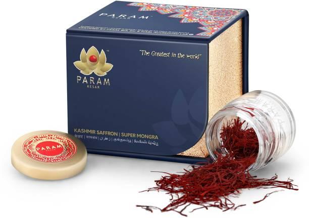 PARAM KESAR Certified Natural, Pure, Organic and Rarest Supreme Quality Kashmiri kesar- Saffron 3 Gram