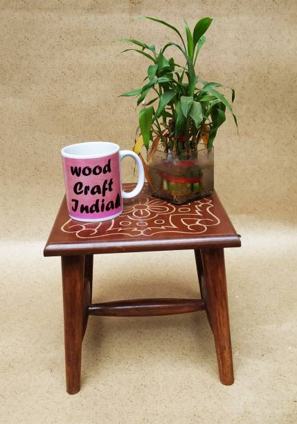 wood craft india Wooden Hand-Crafted Corner Side Stool for Living Room and Office | Small Side Table for lamp, Books, Flower Pot, Plants or vase, showpieces 10X10X10 INCH Solid Wood Side Table (Finish Color - Brown, Pre-assembled) Living & Bedroom Stool