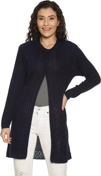 CLAPTON Self Design Round Neck Casual Women Dark Blue Sweater