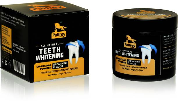 PALFREY Natural Organic Teeth Whitening Charcoal Powder   For Tobacco Stain, Tartar, Gutkha Stain and Yellow Teeth Removal   No Side Effect (50 g)