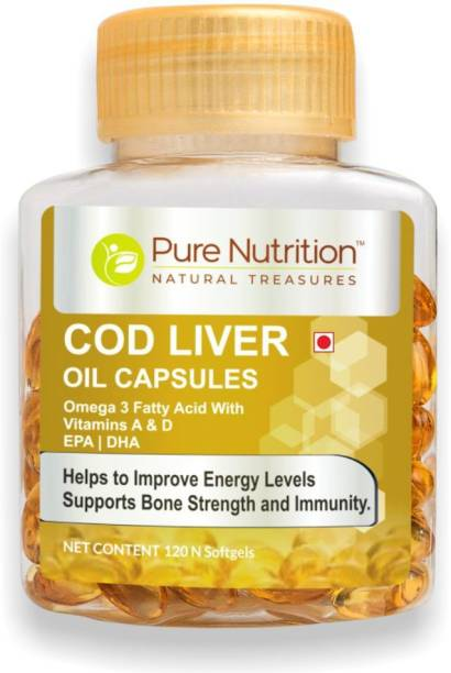 Pure Nutrition COD Liver Oil with Omega 3 Fatty Acid, Vitamin A,Vitamin D