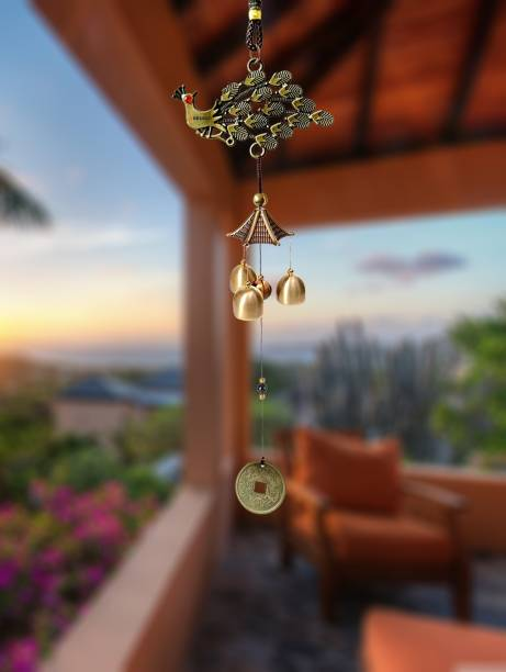 Pseudo Metal PEACOCK design Wind Chimes with 3 Bells, 3 bells of 1 steps Home Balcony Garden Positive Energy, Home Decor Hanging Gifts for Loved Ones Jingle Good Sound 23 Inch Long Brass Windchime (23 inch, Gold) Brass Windchime