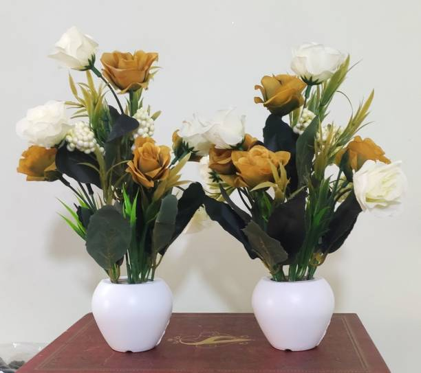 BK Mart Set of 2 Rose Flower top for home shop office decoration gift Gold, White Rose Artificial Flower  with Pot