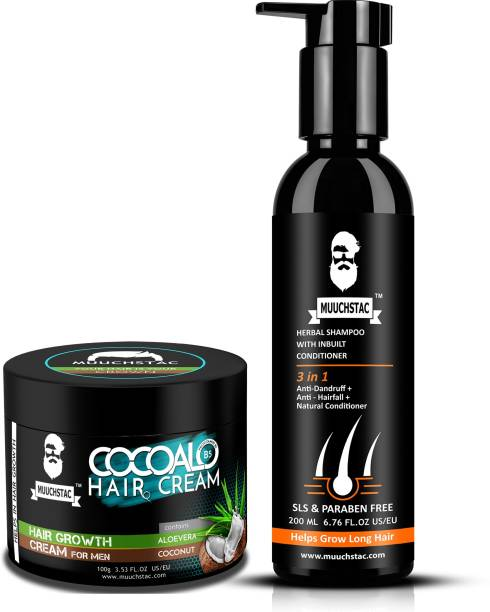 MUUCHSTAC Cocoalo Hair Cream for Hair Growth and Herbal Shampoo with inbuilt Conditoner
