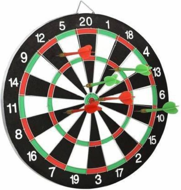 FITNACE Wooden Double Sided 15 Inch Dart Board | Family Game Set with 6 Steel Soft Tip Dart