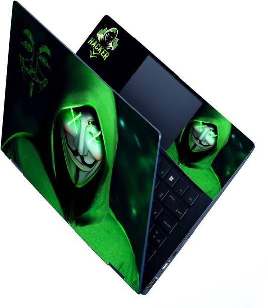 Anweshas Full Panel Laptop Skins Upto 15.6 inch - No Residue, Bubble Free - Removable HD Quality Printed Vinyl/Sticker/Cover for Dell-Lenovo-Acer-HP (green Shade hacker anonymous) Stretched Vinyl Laptop Decal 15.6