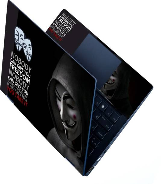Anweshas Full Panel Laptop Skins Upto 15.6 inch - No Residue, Bubble Free - Removable HD Quality Printed Vinyl/Sticker/Cover for Dell-Lenovo-Acer-HP (red spot face on face hacker anonymous) Stretched Vinyl Laptop Decal 15.6
