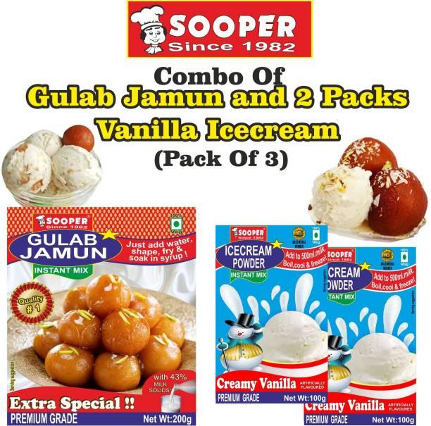 SOOPER GULAB JAMUN MIX 200g + 2 VANILLA ICE CREAM MIX 100g = 400 g