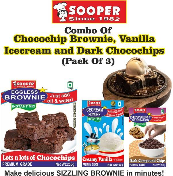 SOOPER CHOCO CHIP BROWNIE 250g + VANILLA ICE CREAM 100g + DARK CHOCO CHIPS 50g 400 g