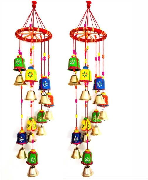 Brothers creation Handcrafted Round Bells Design Wood Windchime (18 inch, Multicolor) Plastic Windchime