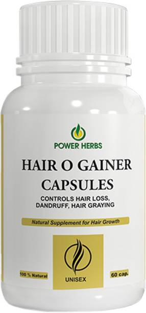 Power herbs Hair O Gainer Capsules & Oil (100ml) - Boost hair growth, Prevents hair fall, Delays Hair Greying