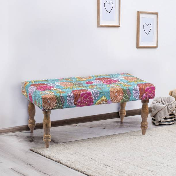 Ikiriya Bestone Solid Wood Bench in Floral Print Green Kantha upholstery for Living Room| Bedroom| Dining Bench| 36x18x16 Inch Solid Wood 2 Seater