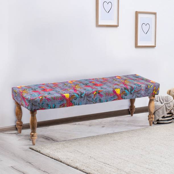 Ikiriya Bird Print Grey Kantha Solid Wood 2 Seater Bench for Living Room| Bedroom| Dining Bench| Couch Solid Wood 2 Seater