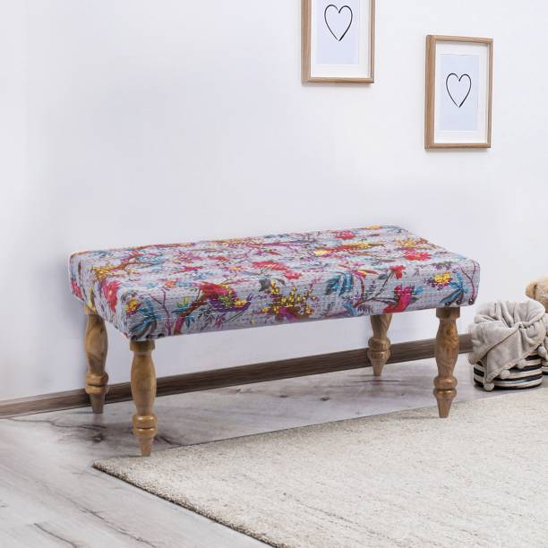 Ikiriya Collio Solid Wood Bench in Bird Print Grey Kantha upholstery for Living Room| Bedroom| Dining Bench| 36x18x16 Inch Solid Wood 2 Seater