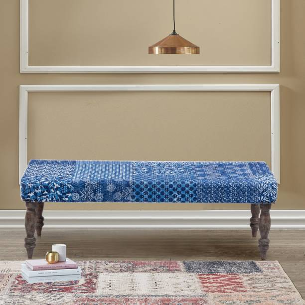 Ikiriya Indigo Patch Kantha Solid Wood 2 Seater Bench for Living Room| Bedroom| Dining Bench| Couch Solid Wood 2 Seater