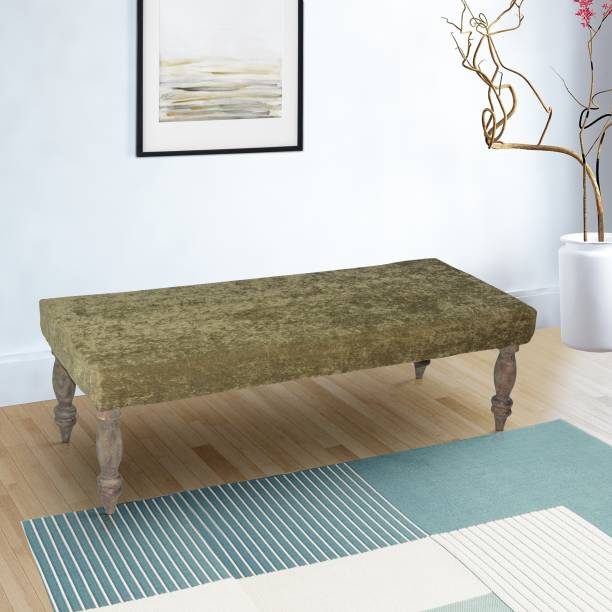 Ikiriya Green Sparkle Velvet Solid Wood 2 Seater Bench for Living Room| Bedroom| Dining Bench| Couch Solid Wood 2 Seater