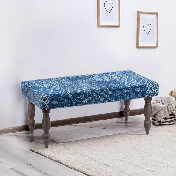 Ikiriya Nashville Solid Wood Bench in Indigo Patch Kantha upholstery for Living Room| Bedroom| Dining Bench Solid Wood 2 Seater