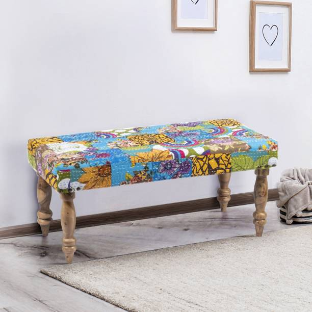 Ikiriya Hamilton Solid Wood Bench in Multicolour Kantha upholstery for Living Room  Bedroom  Dining Bench  36x18x16 Inch Acacia 2 Seater