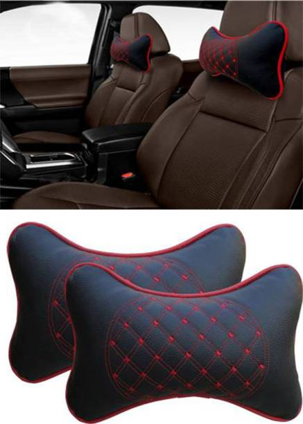 RONISH Black, Red Leatherite Car Pillow Cushion for Universal For Car