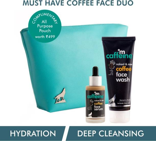 MCaffeine Must-Have Coffee Face Duo | Free All Purpose Teal Pouch | Deep Cleanser, Reduces Puffiness | Face Wash, Face Serum